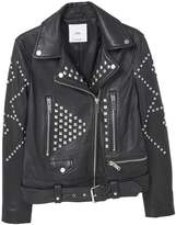 MANGO POMELO Leather jacket black
