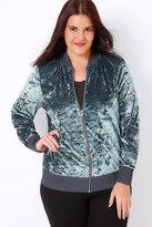 Yours Clothing Grey Velvet Bomber Jacket