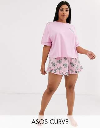 Asos DESIGN Curve koala tee & short jersey pyjama set-Pink