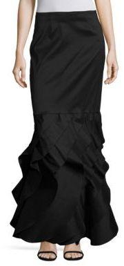 Tadashi Shoji Long Taffeta Ruffle Bottom Skirt