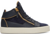 Giuseppe Zanotti Navy Suede May London High-top Sneakers