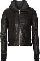 R 13 Hooded Washed-leather And Jersey Biker Jacket - Black