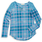Jessica Simpson Girls 7-16 Plaid and Lace Tee