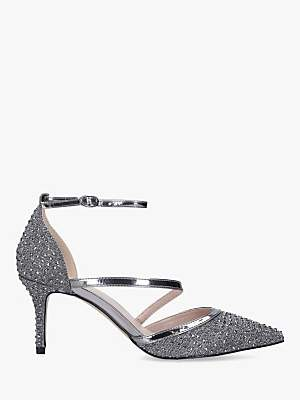 Carvela Kym Pointed Toe Cross Strap Heel Court Shoes, Grey Pewter