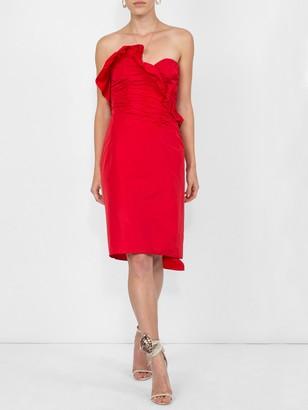 ALEXACHUNG Ruched Strapless Dress