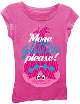 Asstd National Brand Trolls Girls' More Glitter Please! Short Sleeve Graphic T-Shirt with Blue Glitter