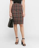 Express High Waisted Textured Plaid Pencil Skirt
