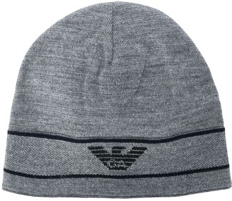 Emporio Armani logo embroidered beanie hat
