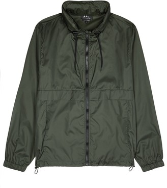 A.P.C. Miles green hooded shell jacket