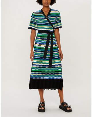 Maje Ramacca striped knitted maxi wrap dress