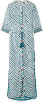 Talitha - Ira Fringed Printed Silk And Cotton-blend Maxi Dress - Turquoise