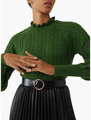 Warehouse Cable Knit Ruffle Neck Jumper, Bright Green