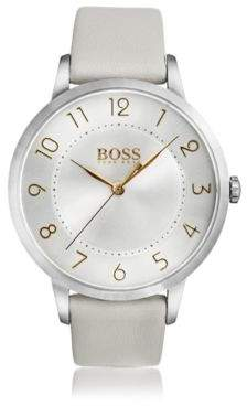 BOSS Three-hand watch in polished stainless steel
