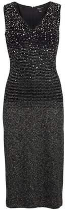 St. John Ombre Metallic Tweed V-Neck Dress