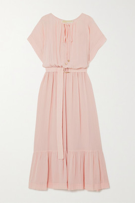 MICHAEL Michael Kors Belted Tiered Gauze Midi Dress - Blush