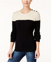 Charter Club Colorblocked Cable-Knit Sweater, Only at Macy's