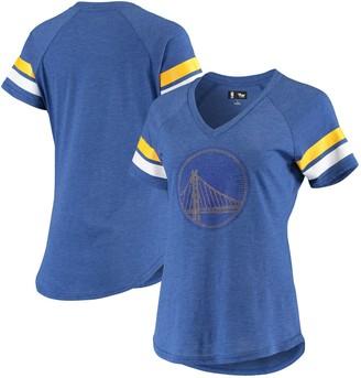 G Iii Women's G-III 4Her by Carl Banks Royal Golden State Warriors Triple Double Rhinestone Tri-Blend V-Neck T-Shirt