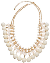 Blu Bijoux Gold and Cream Beaded Statement Necklace