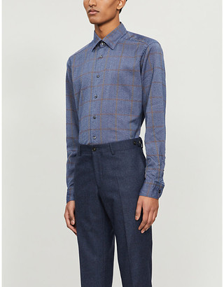 Eton Checked contemporary-fit woven shirt