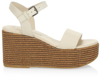 Brunello Cucinelli Monili-Trimmed Leather Espadrille Wedges