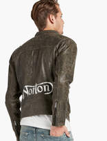 Lucky Brand Hand Painted Norton Leather Jacket