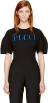 Emilio Pucci Black & Blue Glitter Logo T-Shirt