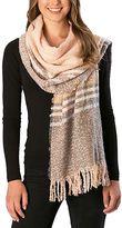 Pure Style Girlfriends Pink Plaid Fringe Scarf