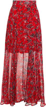 IRO Diamond Gathered Floral-print Georgette Maxi Skirt