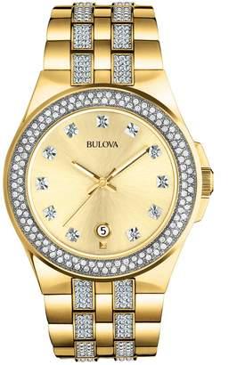 Bulova Crystal Goldtone Stainless Steel Watch