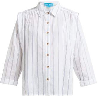 MiH Jeans Arley Jacquard-striped Pleated-shoulder Shirt - Womens - White