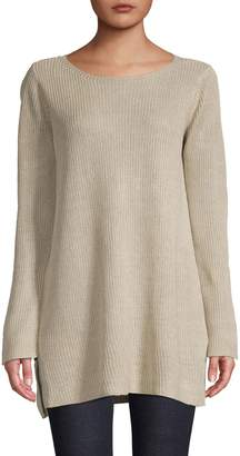 Eileen Fisher Boat Neck Tunic Linen Sweater