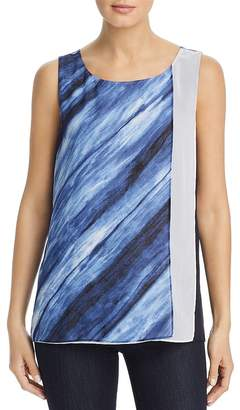 Donna Karan Sleeveless Color-Block Overlay Top