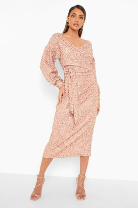 boohoo Bridesmaid Sequin Off The Shoulder Midi Dress