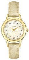 Timex Women's T2M577 Diamond Accented Cream Leather Strap Watch