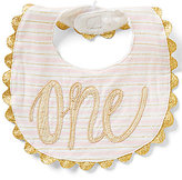 Mud Pie Baby Girls Striped Birthday One Bib