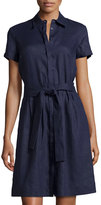 Neiman Marcus Linen Short-Sleeve Belted Shirtdress, Navy