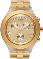 Swatch Watch, Unisex Swiss Chronograph Full-Blooded Gold-Tone Aluminum Bracelet 43mm SVCK4032G