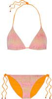 Missoni Mare Metallic Crochet-knit Halterneck Bikini - Pastel pink
