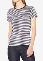 Sunspel Classic Stripe Crewneck Tee White Black