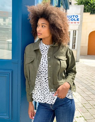 Brave Soul frederique twill jacket with pocket detail in khaki
