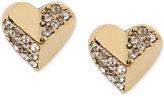 Betsey Johnson Gold-Tone Crystal Heart Stud Earrings
