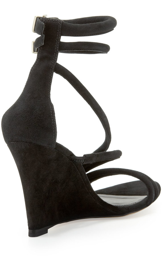 Brian Atwood Sedini Suede Ankle-Wrap Wedge, Black
