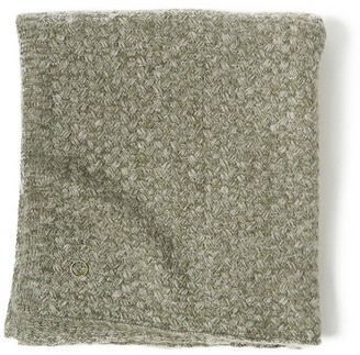 Oyuna Safira Knitted Cashmere Throw In Moss & Soft Grey