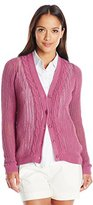 Pendleton Women's Petite Devon Cable Trim Cardigan Sweater