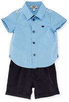 Armani Junior Short-Sleeve Poplin Shirt w/ Twill Shorts, Stucco, Size 6-24 Months