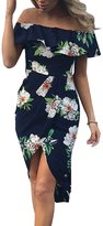 Berrygo Women's Sexy Off Shoulder Ruffle Floral Print Split Bodycon Party Midi Dress