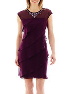 JCPenney S. L. Fashions SL Fashions Cap-Sleeve Jeweled-Neck Asymmetrical Tiered Dress
