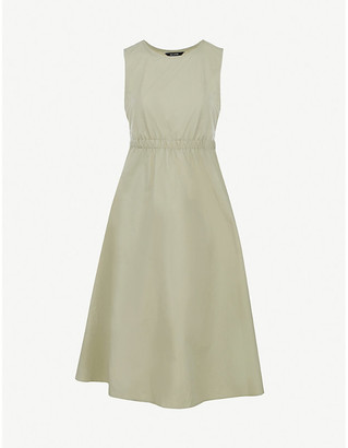 Frankie Shop Erica fit-and-flare cotton and linen-blend midi dress