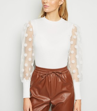 New Look Cameo Rose Spot Organza Sleeve Top