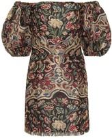 Etro Off-the-shoulder jacquard minidress